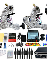 Complete Tattoo Kit 2 Pro Machine Power Supply Foot Pedal Needles Carry Case TK259