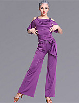 Latin Dance Outfits Women's Performance Viscose Crystals/Rhinestones 2 Pieces Half Sleeve Natural Top / Pants