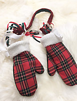 Sign ~ soft sister college wind hit the color plaid corduroy Plaid Halter warm gloves lamb Mao Xuesheng