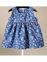 Girl's Beach Print Dress,Cotton Summer Sleeveless
