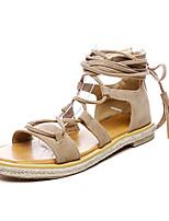 Women's Sandals Spring Summer Fall Club Shoes Gladiator Leatherette Outdoor Dress Casual Flat Heel Zipper Tassel