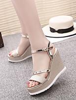 Damen-Sandalen-Kleid-PU-KeilabsatzGold Schwarz Silber