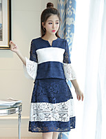 Women's Lace Real shot hit the color small V-neck lace jacket + lace waist big swing skirts two-piece suit