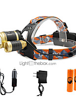 U'King® ZQ-G808C-Gold-EU 3 * CREE XML-T6 6000LM 4Mode Zoomable Headlamp Kit with 2*18650 Battery
