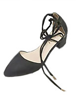 Heels Spring Comfort PU Office & Career Casual Low Heel Lace-up Black Almond