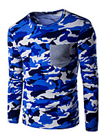 Men's Going out Formal Simple Active Spring Fall T-shirt,Print Round Neck Long Sleeve Blue Cotton Medium