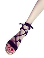 Черный Серый БронзаПовседневный Для праздника-Полиуретан-На плоской подошве-Удобная обувь-Сандалии