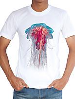 Tee-shirt Homme,Imprimé Décontracté / Quotidien Plage Vacances Vintage simple Chic de Rue Printemps Eté Manches Courtes Col Arrondi Blanc