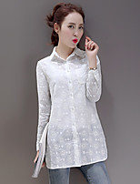 Women's Casual/Daily Simple Spring Fall Shirt,Solid Shirt Collar Long Sleeve Cotton