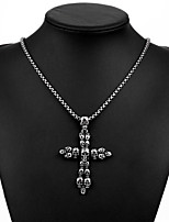 Men's Pendant Necklaces Statement Necklaces Titanium Steel Cross Skull / Skeleton Basic Fashion Statement Jewelry Silver JewelryDaily