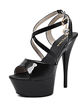 Heels Summer Club Shoes Patent Leather Dress Stiletto Heel Imitation Pearl Black White Almond