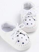 Baby Flats Spring Fall First Walkers Leatherette Outdoor Casual Low Heel Lace-up White Beige Gray Walking