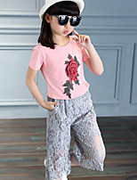 Casual/Daily Patchwork Sets,Cotton Rayon Summer Short Sleeve Clothing Set