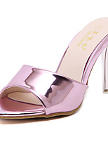 Sandals Summer Club Shoes Patent Leather Dress Low Heel Purple Gold