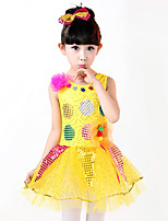 Ballet Dance Dress For Girls Children's Performance Polyester Sequins Splicing 2 Pieces Sleeveless High Latin Dress Headpieces Fuchsia/Yellow