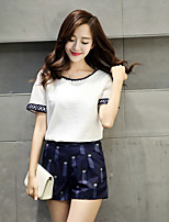 New Korean Women was thin short-sleeved cotton fashion printing leisure suit pants two-piece women