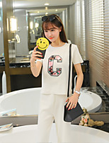 Sign # 3608 fashion short-sleeved T-shirt sweater blouses + Leisure seven wide leg pants piece fitted