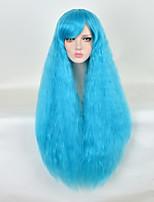 80cm ciel bleu femmes résistant à la chaleur bouclés pas cher longue perruque synthétique crépus mignonne perruques lolita est lâche
