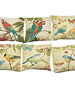 Set of 6  Pastoral style flowers and birds pattern Linen Pillowcase Sofa Home Decor Cushion Cover (18*18inch)