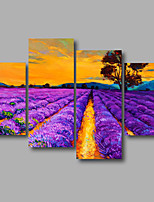 Stretched Canvas Print Four Panels Canvas Wall Decor Home Decoration Abstract Modern Lavender Purple