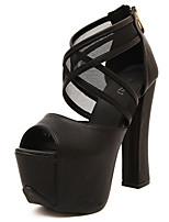 Tacón Robusto-Zapatos del club-Tacones-Vestido-PU-Negro Blanco