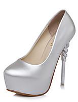 Черный Серебряный-Для женщин-Для офиса Для праздника Для вечеринки / ужина-Полиуретан-На шпилькеОбувь на каблуках