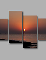 Stretched Canvas Print Four Panels Canvas Wall Decor Home Decoration Abstract Modern Sea Waves Sunrise