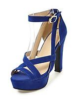Women's Sandals Summer Comfort Ankle Strap Fleece Wedding Dress Party & Evening Chunky Heel Buckle Black Beige Fuchsia Blue