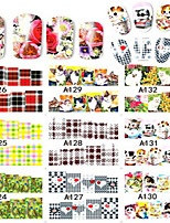 1set 48pcs Mixed Water Transfer Decals Lovely Cartoon& Beautiful Flower Decoration Nail Art Sticker Nail Beauty Tips A97-144
