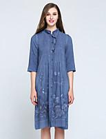MARY YAN&YU Women's Casual/Daily Cute Sheath DressSolid Round Neck Midi  Sleeve Blue Linen Spring Summer Mid Rise Inelastic Medium