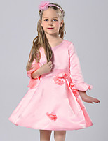 Girl's Solid Dress,Polyester Fall Long Sleeve