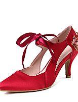 Women's Heels Spring Summer Ankle Strap Satin Party & Evening Dress Stiletto Heel Flower Lace-up Purple Red Blue