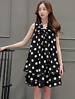Korean women fat mm high temperament A dress tutu bow wave point sleeveless dress bottoming