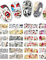1pcs 12Design New Nail DIY Water Transfer Decals Classical Newspaper&Tower Style Beautiful Lady&Flower Design Full Tips Nail Art Sticker BN565-576