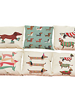 Set of 6  Creative dachshund pattern Linen Pillowcase Sofa Home Decor Cushion Cover (18*18inch)