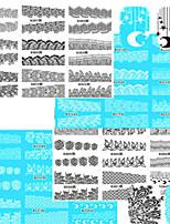 1set 48pcs Mixed Black White Beautiful Image Design Nail Art Watermark Sticker Nail Water Transfer Decals B313-336