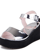 Sandals Spring Summer Fall Slingback PU Office & Career Dress Casual Wedge Heel Buckle Black White Silver Gold