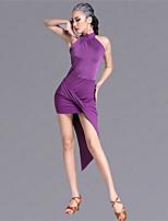 Latin Dance Dresses Women's Performance Viscose 1 Pieces Sleeveless Natural Dress