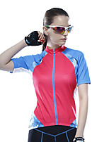 Mysenlan Cycling Jersey Women's Short Sleeve Bike Breathable Jersey Polyester Fashion Summer Rose Red Violet