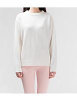 Normal Pullover Femme Décontracté / Quotidien simple,Couleur Pleine Col Arrondi Manches Longues Coton Printemps Automne Fin