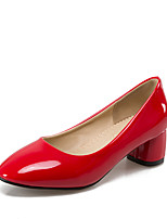 Heels Spring Summer Fall Comfort Patent Leather Office & Career Dress Casual Chunky Heel Black Yellow Pink Red Beige