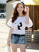 Tee-shirt Femme,Couleur Pleine Mosaïque Décontracté / Quotidien Vacances Sortie simple Chic de Rue Sophistiqué Printemps EtéManches
