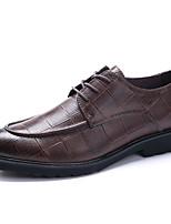 Черный КоричневыйСвадьба Для офиса Повседневный Для вечеринки / ужина-Кожа-На плоской подошве-Баллок обувь-Туфли на шнуровке