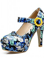 Heels Spring Fall Comfort Leatherette Office & Career Dress Casual Chunky Heel Buckle Blue Purple