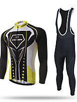 XINTOWN Cycling Jersey with Tights Men's Long Sleeve Bike Pants/Trousers/Overtrousers Tracksuit Zip Top Jersey Bib Tights TopsMoisture