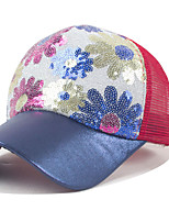 Women Sun Flower Print Sequin Splice Color Breathable Net Cap Baseball Hat