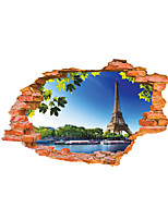 3D Wall Stickers Wall Decals Style Blue Sky Tower PVC Wall Stickers