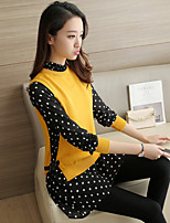 Sign # 4434 2017 spring long sections pullover sweater female loose fake two shirt collar shirt