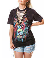 Women's Casual/Daily Club Sexy Street chic All Match Fashion Summer T-shirtPrint Lion Criss-Cross Deep V Short Sleeve Medium