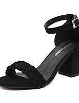 Women's Sandals Spring Comfort PU Outdoor Chunky Heel Block Heel Black Gray